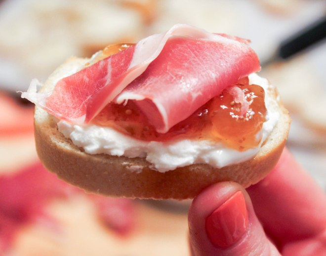 The Perfect Appetizer: Crostini Two Ways - Goat Cheese, Fig & Prosciutto and Brie, Honey & Peach